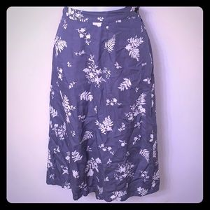 Elisabeth Petite blue & white leaf skirt w pockets
